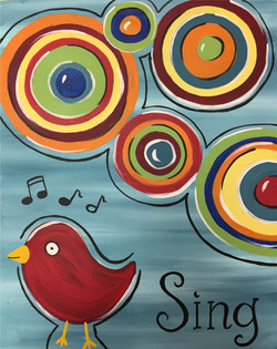 Sing Bird with Circles