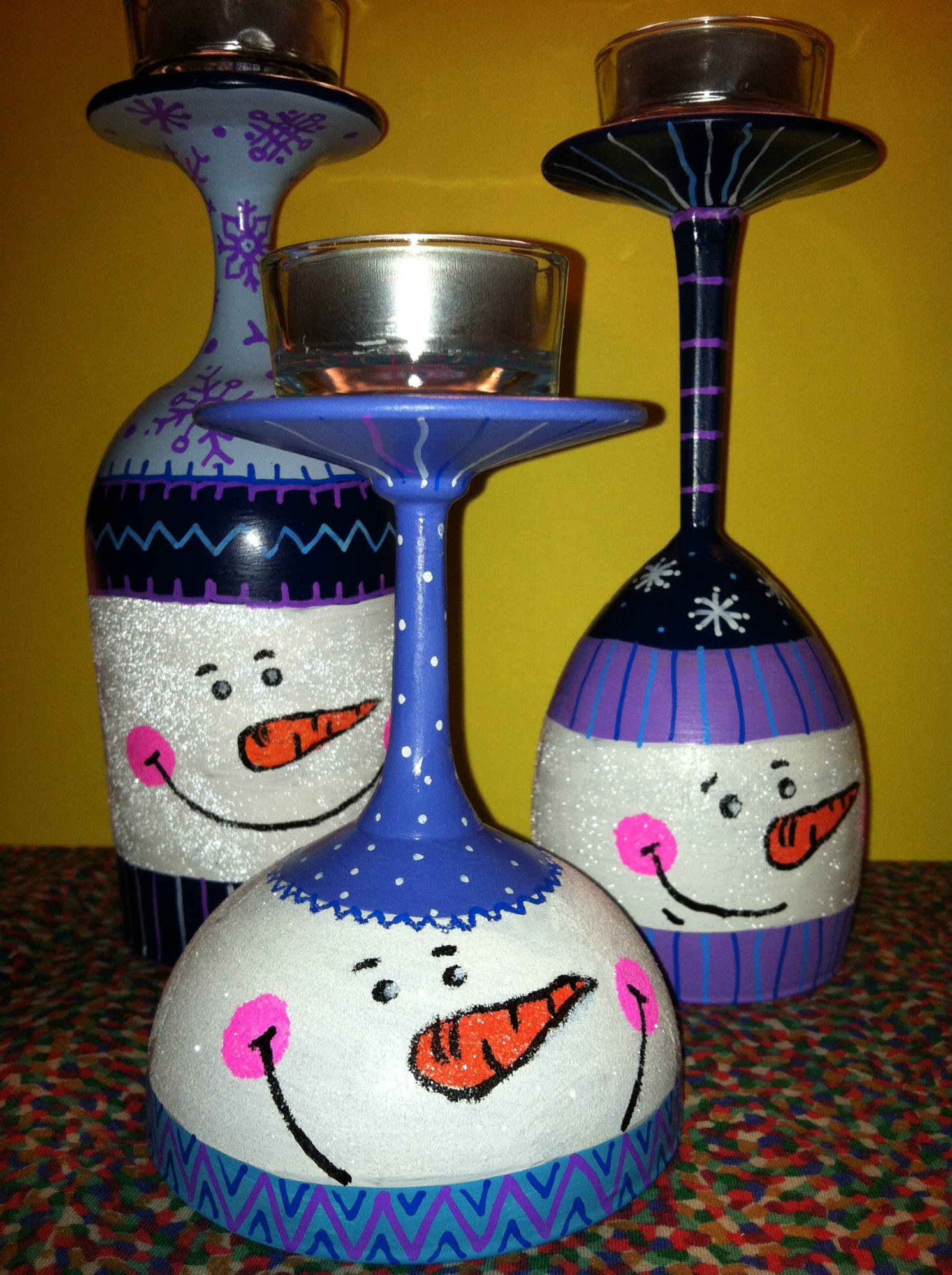 Snowman Glass Candle Holders