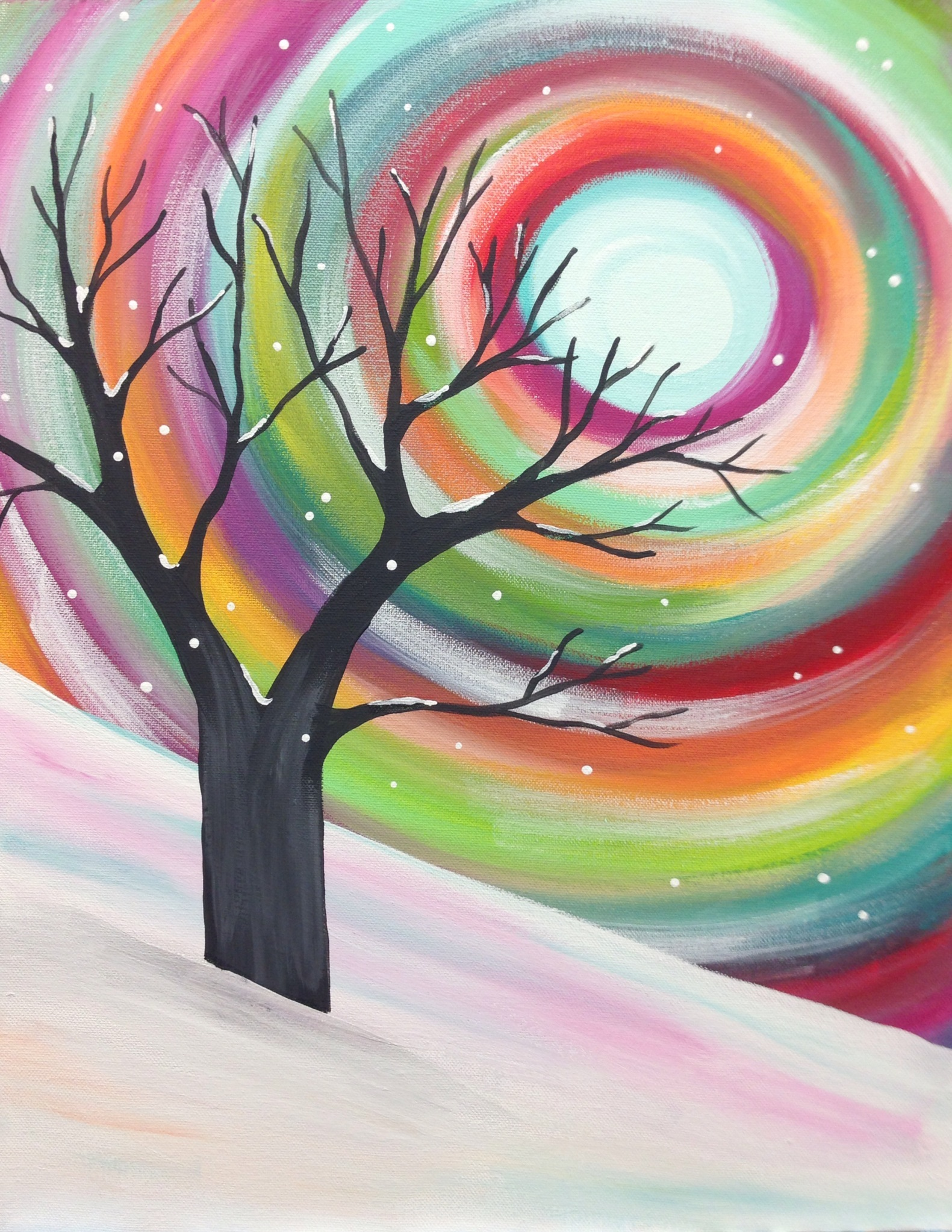 Rainbow Snowy Tree