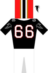 Atlanta Falcons Jersey in schwarz, weiß und rot. Helm in rot, schwarz, weiß. Trikot mit der Nummer 66 und Hose plus Logo