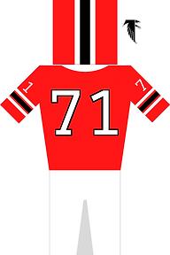 Atlanta Falcons Jersey in rot, weiß und schwarz. Helm in rot, schwarz, weiß. Trikot mit der Nummer 71 und Hose plus Logo