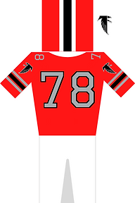 Atlanta Falcons Jersey in rot, grau und schwarz. Helm in rot, schwarz, weiß. Trikot mit der Nummer 78 und Hose plus Logo