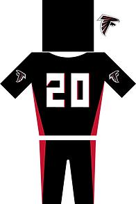 Atlanta Falcons Jersey in Schwarz und rot. Helm Trikot mit der Nummer 20 und Hose plus Logo