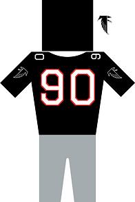 Atlanta Falcons Jersey in Schwarz und rot. Helm Trikot mit der Nummer 90 und Hose plus Logo