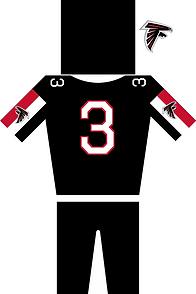 Atlanta Falcons Jersey in Schwarz,rot und weiß. Helm Trikot mit der Nummer 3 und Hose plus Logo