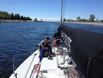 Entering Muskegon Harbor
