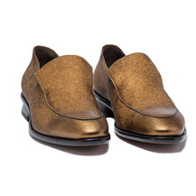 CHIP - SLIP ON DRESS SHOE IN GOLD METALLIC LEATHER