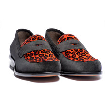 CALDER LOAFER IN BLACK SUEDE AND RED LEOPARD HAIR CALF TRIM