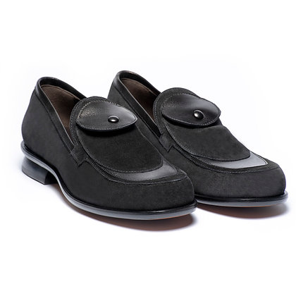 TASCA - BLACK SUEDE SLIP ON  POCKET LOAFER
