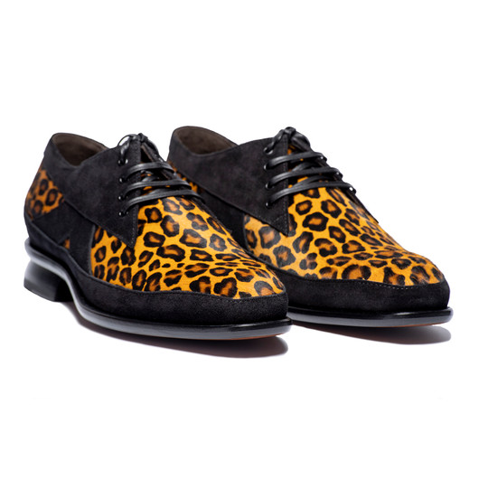 DART - BLACK SUEDE AND CLASSIC LEOPARD TRIM LACE UP