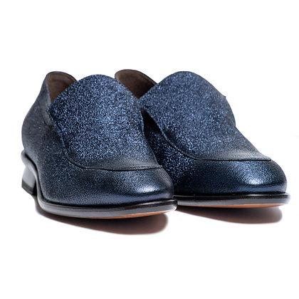 CHIP - SLIP ON DRESS SHOE IN BLUE METALLIC LEATHER