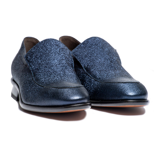 CHIP - SLIP ON DRESS SHOE IN BLUE METALLIC LEATHER