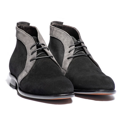 CHARLZ - ANKLE BOOT - BLACK AND GREY SUEDE WITH LEATHER LACE UP