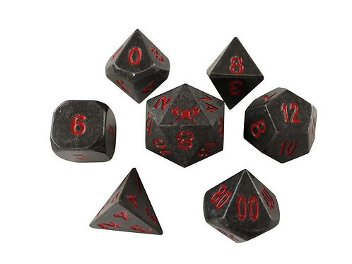 INDUSTRIAL GRAY WITH RED NUMBERING METAL DICE