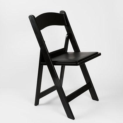 BLACK RESIN FOLDING CHAIR W/PADDED SEAT