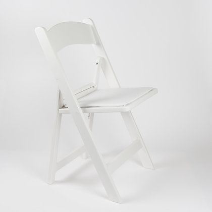 WHITE RESIN FOLDING CHAIR W/PADDED SEAT