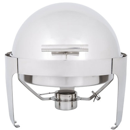 POLISHED STAINLESS STEEL CHAFER - ROLL TOP ROUND