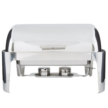 POLISHED S.S. CHAFER - ROLL TOP RECTANGULAR