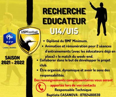 Recherche éducateur saison 2021-2022 - U14/U15