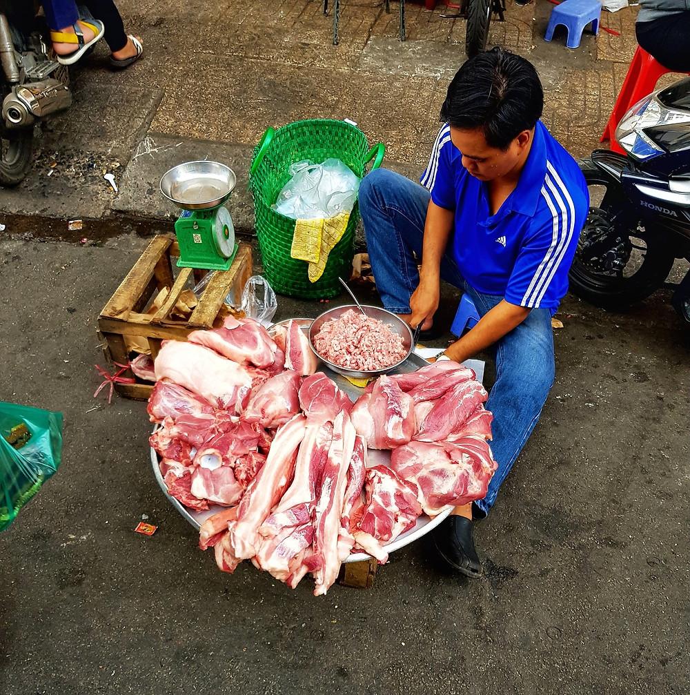 Meat Market Ho Chi Minh City, Vietnam.