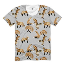 Fox T-shirt with Printed Village