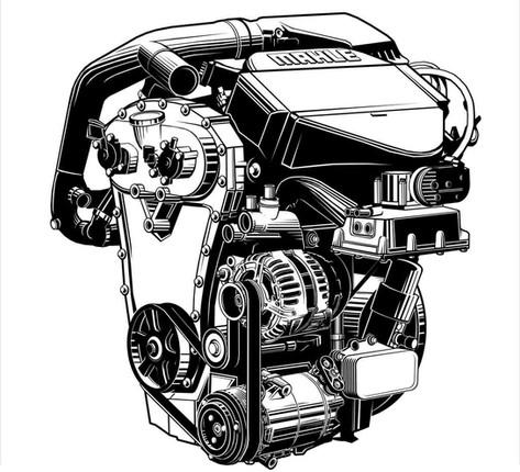 Vektorgrafik: Mahle Downsizing-Motor