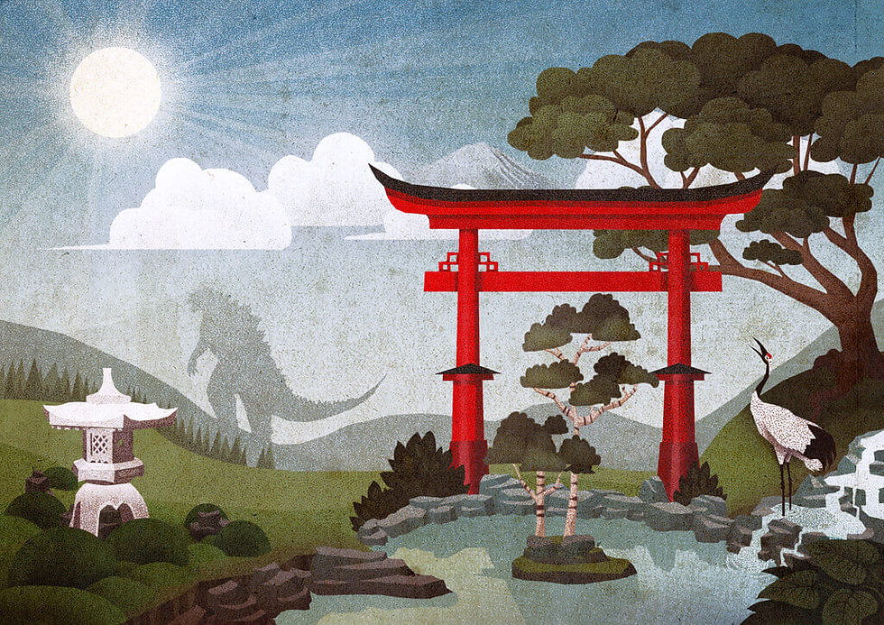 landschaften-illustration-japan-godzilla