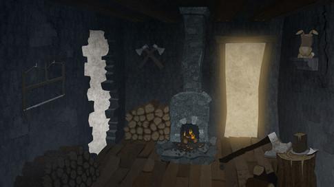 Game Design: Gruselburg - Kaminzimmer