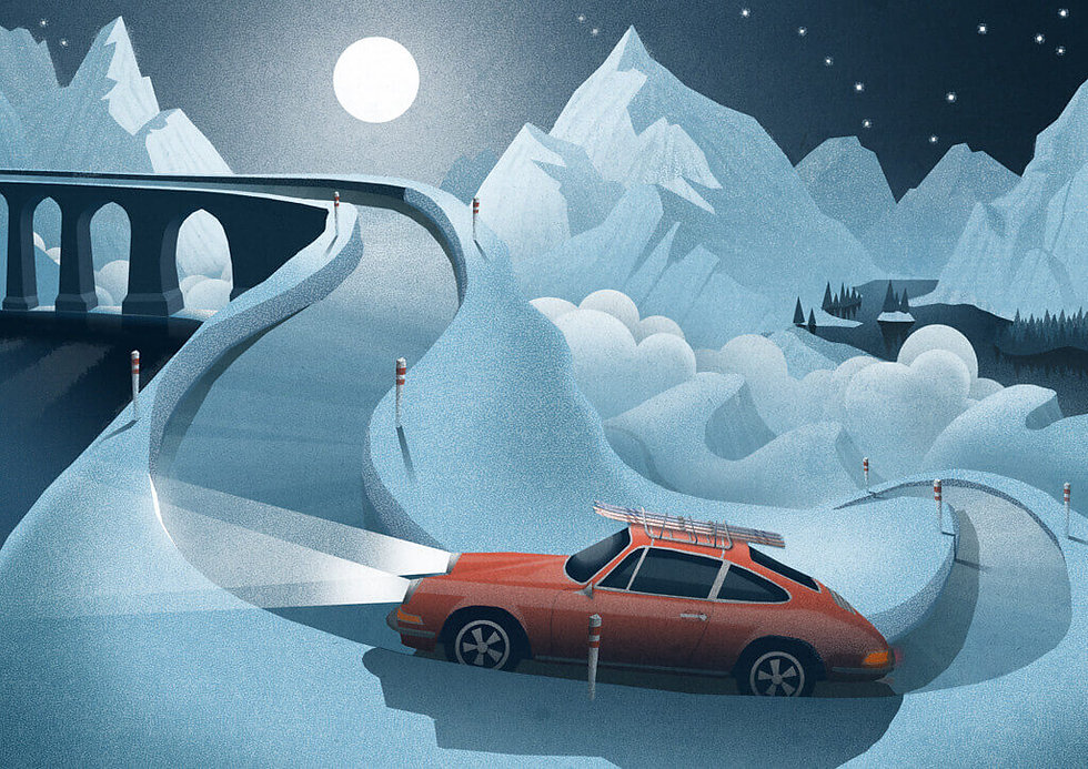 landschaften-illustration-alpen-porsche-