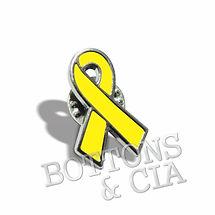 Pin e Broche Laço Amarelo Prevenção Suicidio e Acidente Transito