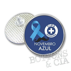 Laço Azul Cancer Prostata Novembro  Campanha Prevenção Conscientização Boton Botton Bottom Broche Pin Botons