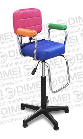 Silla infantil eclipse neumatica para esteticas con cojines comodos con hendiduras en asiento y respaldo