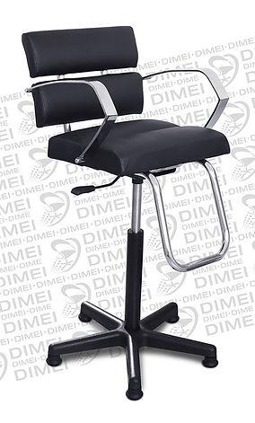Silla infantil neumatica para esteticas con brazos cromados y respaldo y asiento formado por 4 cojines rectangulares