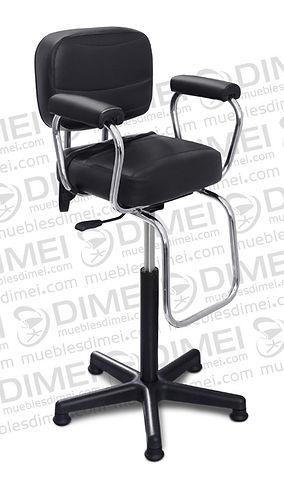 Silla infantil lunar con brazos de plastico y franjas horizontales en las costuras de asiento y respaldo