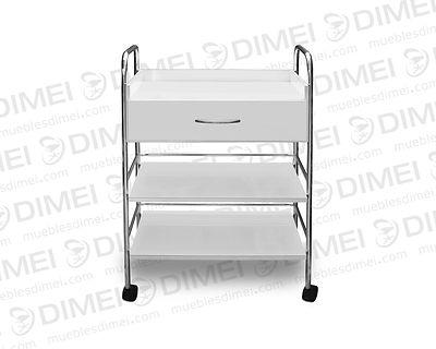 Mesa auxiliar apta para spa, cuenta con 1 cajón superior amplio y 2 repisas con barandales de protección y rodajas de plastico para su movilidad; fabricado en triplay de pino chileno importado