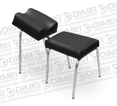Banco de pedicure clásico con descansapies ergonómico para mayor confort,con estructura de metal cromada forrada con vinil