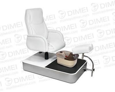Sillón para pedicure spa, Cuenta con un sillón confortable neumático, un soporte ergonomico para el pie ajustable, una tina de hidromasaje multifuncionaly una base sólida hechade madera de triplay con un antiderrapante en la superficie.