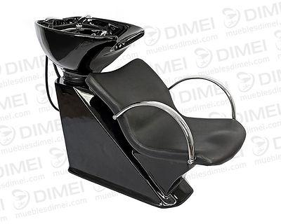 Lavabo de una sola pieza con tarja de cerámica abatible en una sola pieza de color negra. Descansa brazos en metal cromado. Asiento tapizado en vinil negro con espuma de alta densidad. Base de fibra de vidrio en color negro.Incluyellave de Monomando.