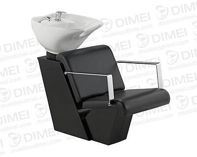 Lavabo de una sola pieza con tarja de cerámica abatible en una sola pieza de color blanco. Descansa brazos en metal cromado. Asiento tapizado en vinil negro con espuma de alta densidad. Base metálica en color negro.