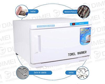 Esterilizador y calentador UV grande para toallas y herramientas, Ideal para estética y barbería. Metálico con capacidad para 10 - 12 toallas pequeñas. Alcanza temperatura ideal de 100° en 8 minutos y se mantiene en automático entre 60° y 100°, cable reforzado de 1m.