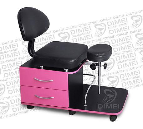 Banco para pedicure práctico y cómodo,cuenta con respaldo, 2 cajones laterales y 1 barandal para productos embotellados