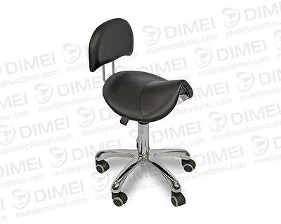 Silla ergonómica neumática con asiento tipo potro con respaldo. base de estrella con ajuste de altura.