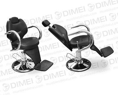 Sillón importado cromado reclinable, cabecera ajustable, descansapies, sólido, durable y versátil ideal para peluquerías, faciales, delineados y maquillajes.