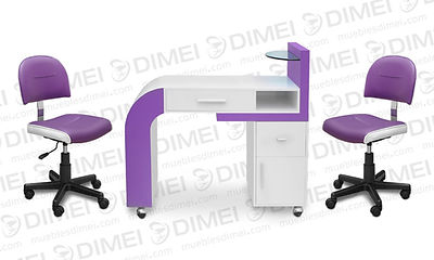 Juego de manicure Náutica, cuenta con 1 mesa de manicure con un cajon superior, un cajon y una puerta lateral y una repisa de cistal, incluye 2 sillas de manicure neumatica náutica