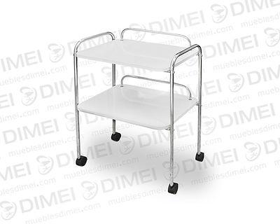 Mesa auxiliar apta para spa, cuenta con 2 repizas con barandales de protección y rodajas de plastico para su movilidad; fabricado en triplay de pino chileno importado