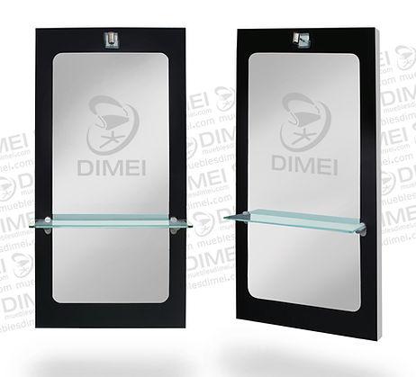 Tocador rectangular para estéticas y salones de belleza empotrable a la pared con repisa de cristal