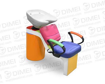 Lavacabezas contamaño especialmente para niños, cuenta con undiseño moderno y práctico. Cuenta con unatarja de fibra de vidrio movible y mueble hecho en madera detriplay importado de primera.