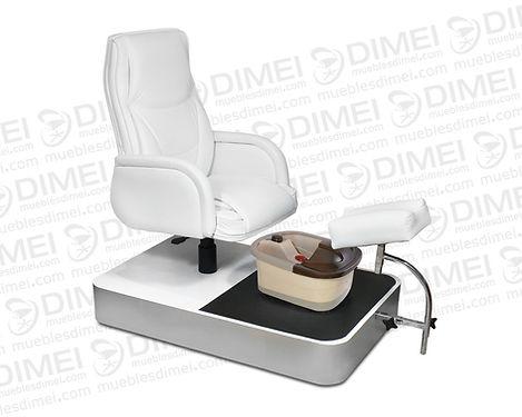 Sillón de pedicure Spa neumático conun soporte ergonomico para el pie. Incluye una tina de hidromasaje