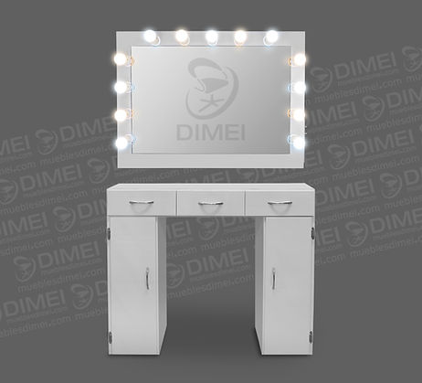 Tocador completo para maquillaje profesional, cuenta con un espejo rodeado por 13 focos (7 de luz fría y 6 de luz cálida),2 interruptores de encendido y 2 conexiones de uso rudo para herramientas eléctricas. También cuenta con una mesa de 3 cajones y 2 puertas