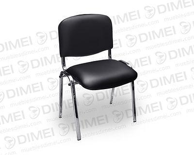 Silla de 4 patas de estructura metálica con respaldo y asiento liso forrados con vinil de la marca Plymouth.